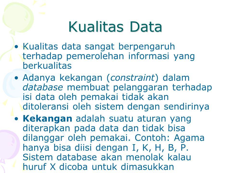 Kualitas Data Kualitas data sangat berpengaruh terhadap pemerolehan informasi yang berkualitas.