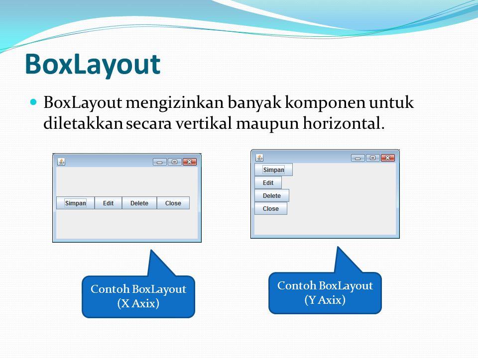 BoxLayout BoxLayout mengizinkan banyak komponen untuk diletakkan secara vertikal maupun horizontal.