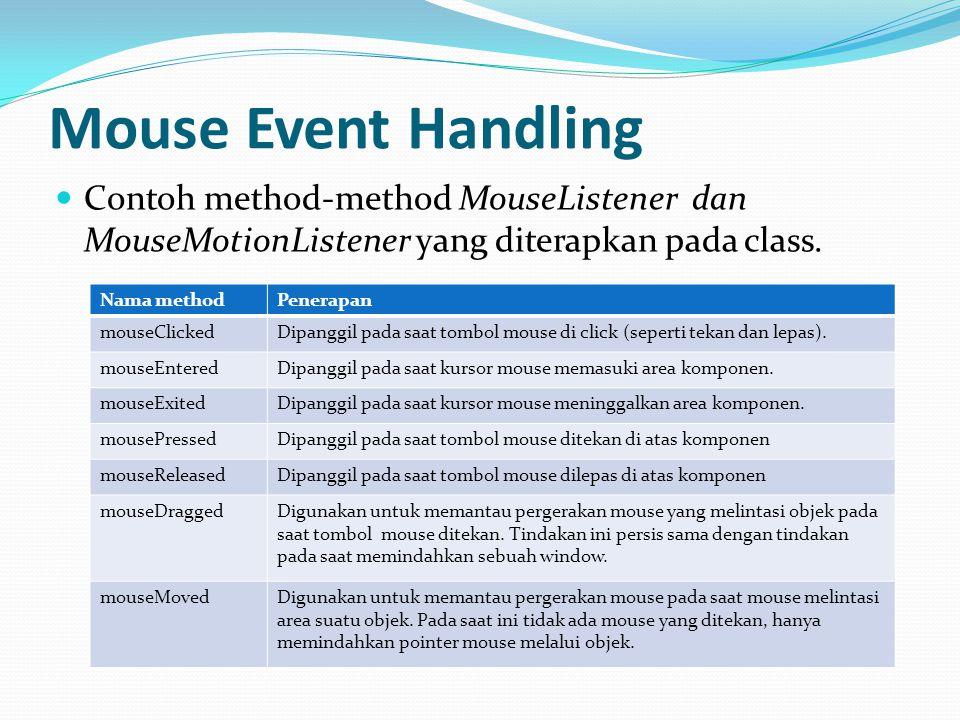 Mouse Event Handling Contoh method-method MouseListener dan MouseMotionListener yang diterapkan pada class.