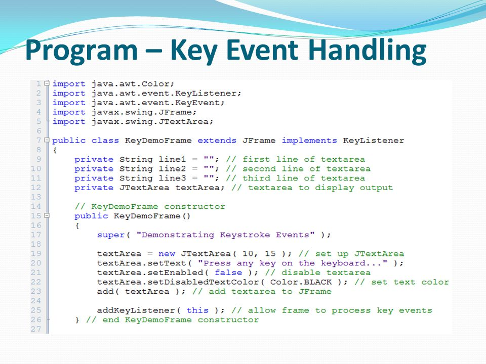 Program – Key Event Handling