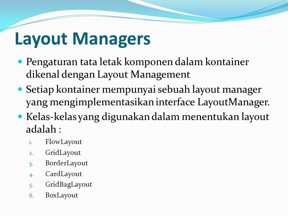 Layout Managers Pengaturan tata letak komponen dalam kontainer dikenal dengan Layout Management.