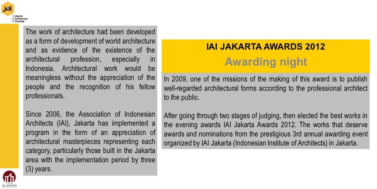Awarding night IAI JAKARTA AWARDS 2012