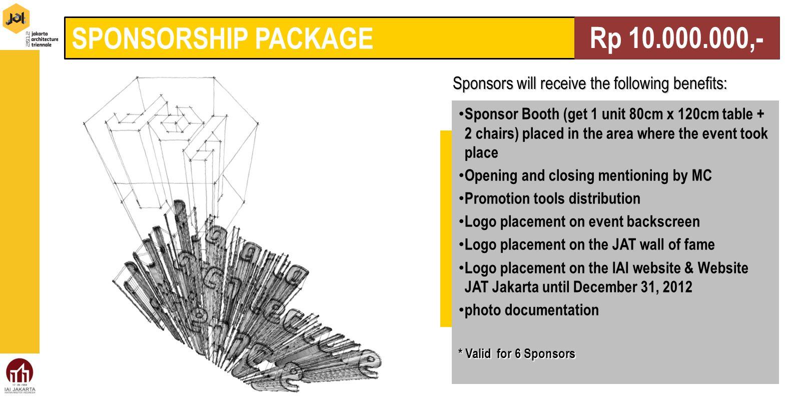 SPONSORSHIP PACKAGE Rp 10.000.000,-