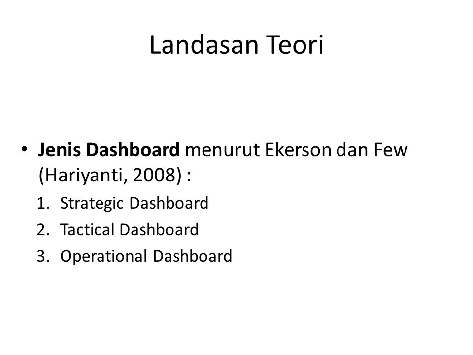 Landasan Teori Jenis Dashboard menurut Ekerson dan Few (Hariyanti, 2008) : Strategic Dashboard. Tactical Dashboard.