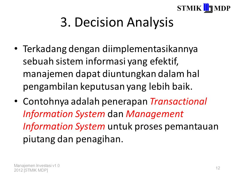 3. Decision Analysis