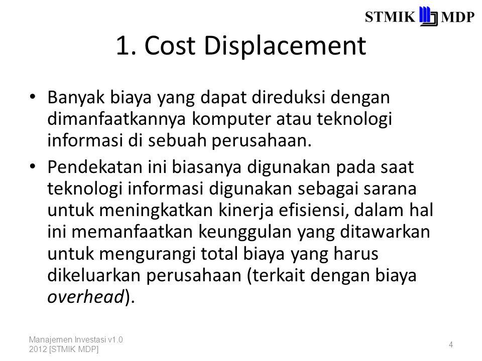 1. Cost Displacement Banyak biaya yang dapat direduksi dengan dimanfaatkannya komputer atau teknologi informasi di sebuah perusahaan.