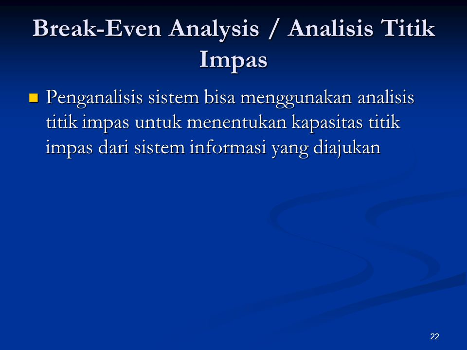 Break-Even Analysis / Analisis Titik Impas