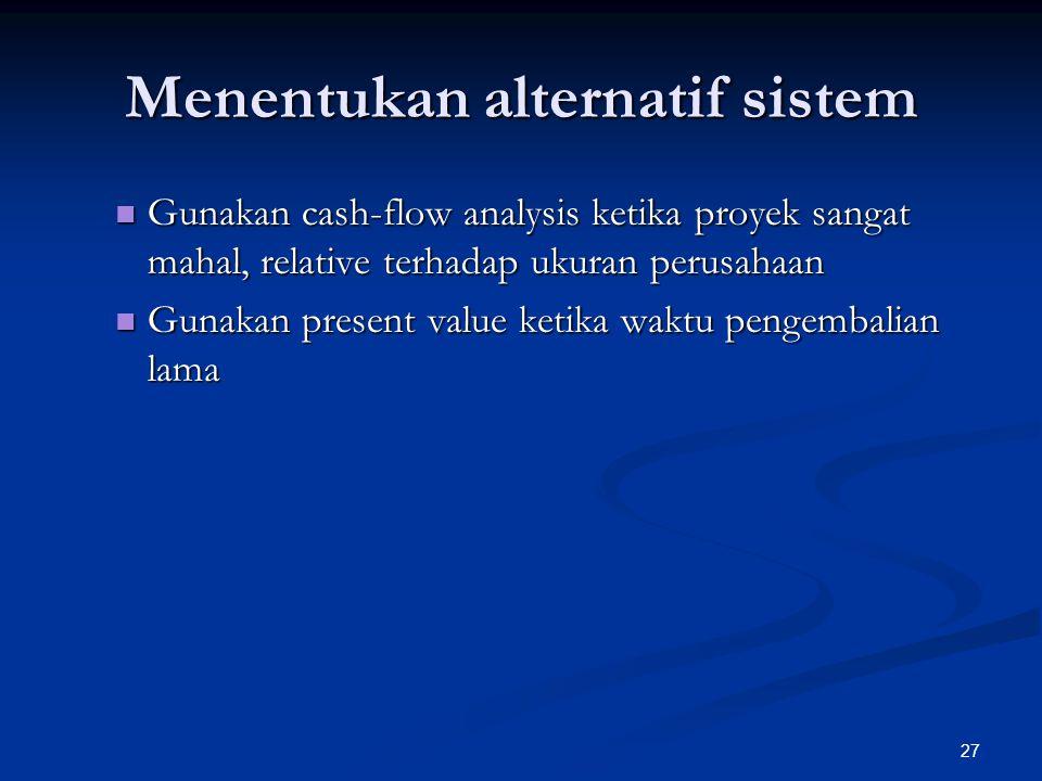 Menentukan alternatif sistem