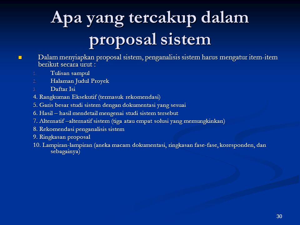 Apa yang tercakup dalam proposal sistem