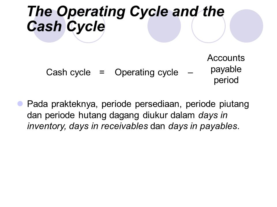 inventory period and operating cycle essay Study 58 corporate chapter 18 flashcards from to the operating cycle minus the inventory period receivable period is equal to the operating cycle.