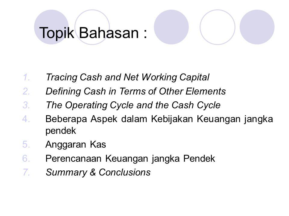 Topik Bahasan : Tracing Cash and Net Working Capital