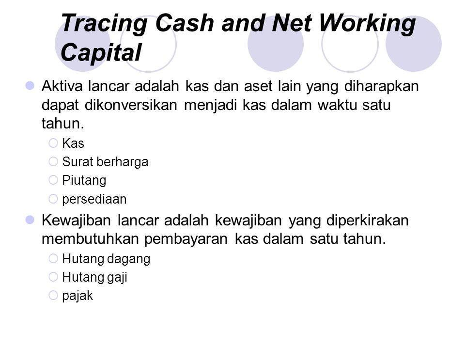 Tracing Cash and Net Working Capital