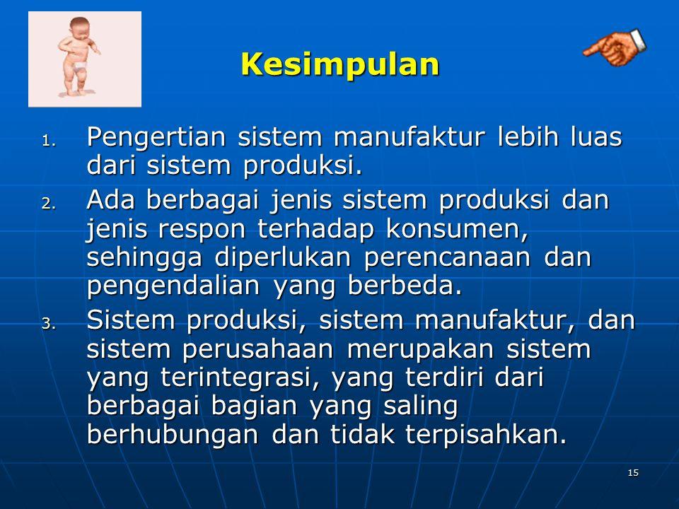 Kesimpulan Pengertian sistem manufaktur lebih luas dari sistem produksi.