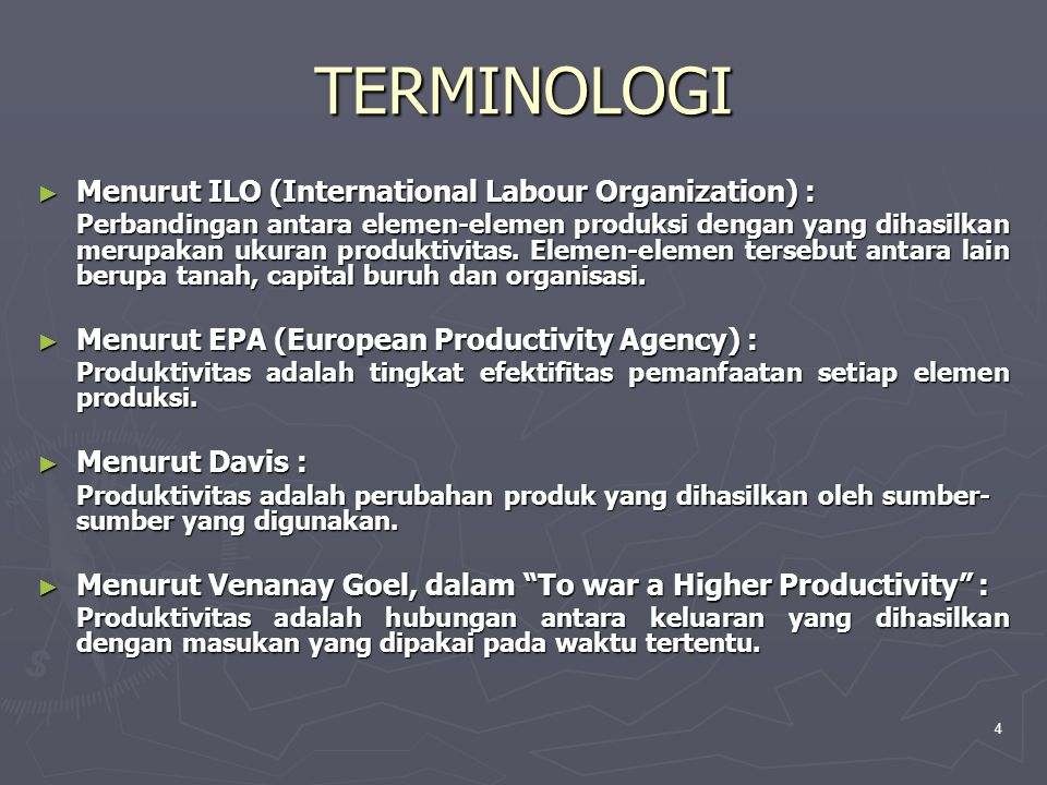 TERMINOLOGI Menurut ILO (International Labour Organization) :