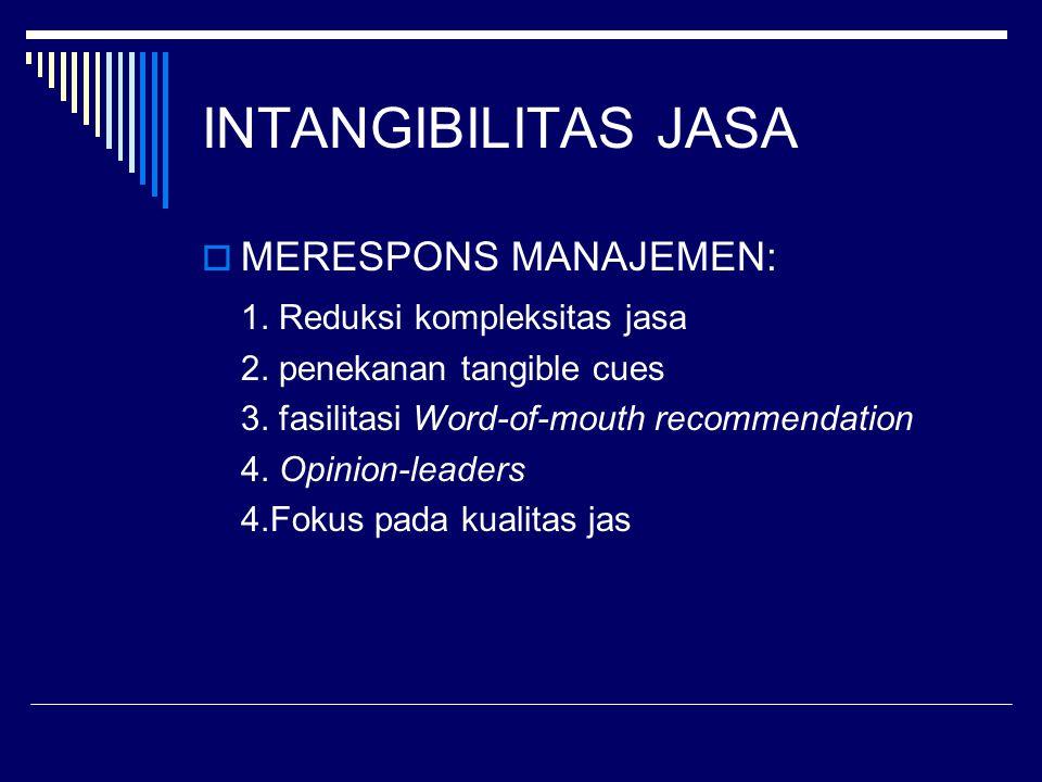 INTANGIBILITAS JASA MERESPONS MANAJEMEN: 1. Reduksi kompleksitas jasa