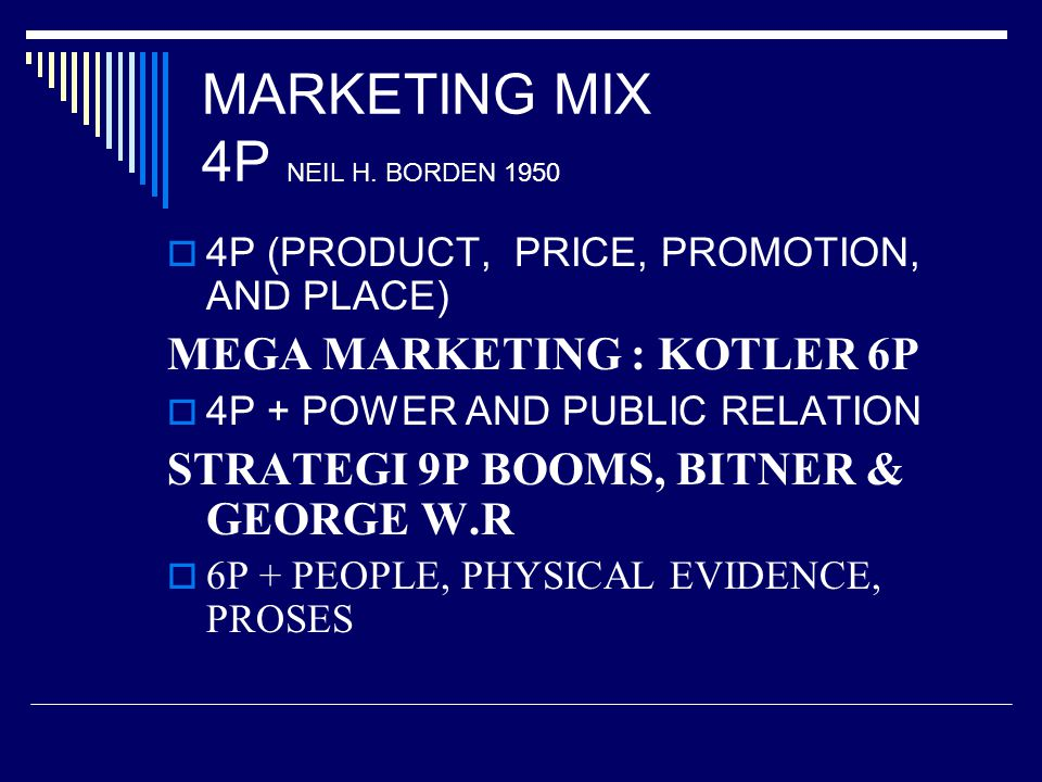 MARKETING MIX 4P NEIL H. BORDEN 1950