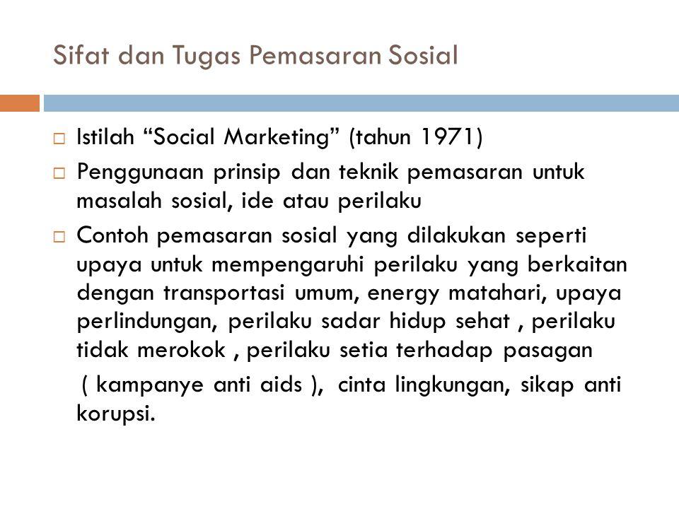 Sifat dan Tugas Pemasaran Sosial