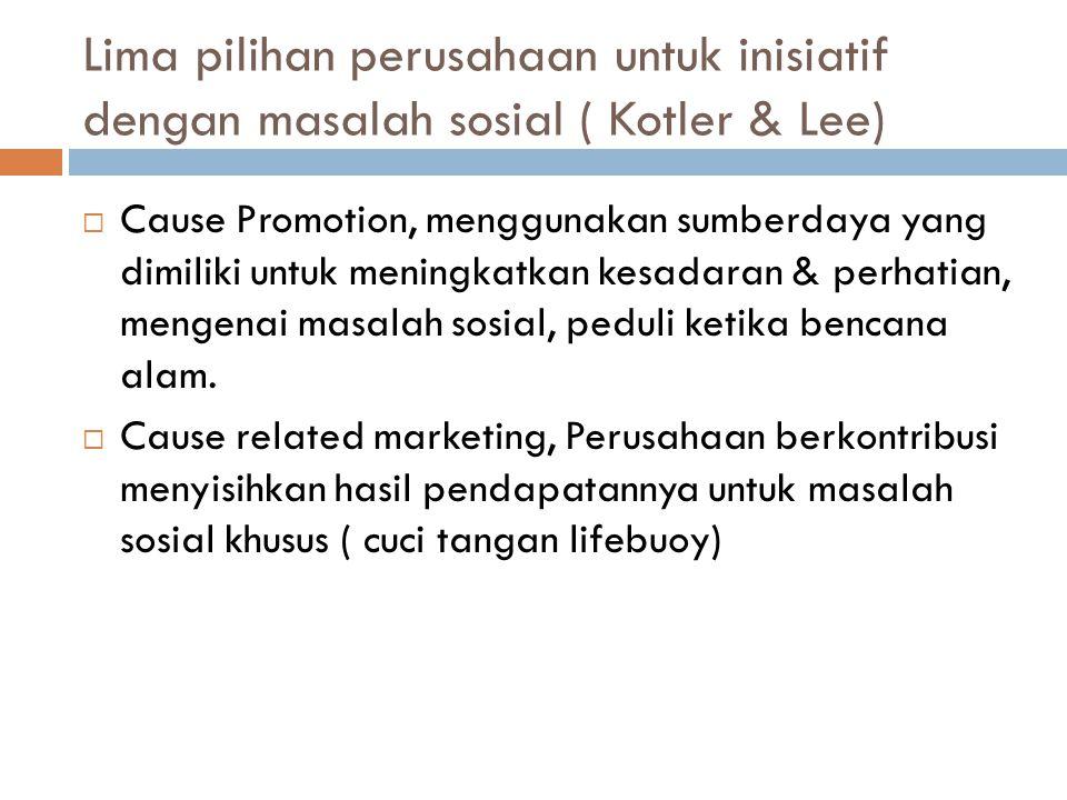 Lima pilihan perusahaan untuk inisiatif dengan masalah sosial ( Kotler & Lee)