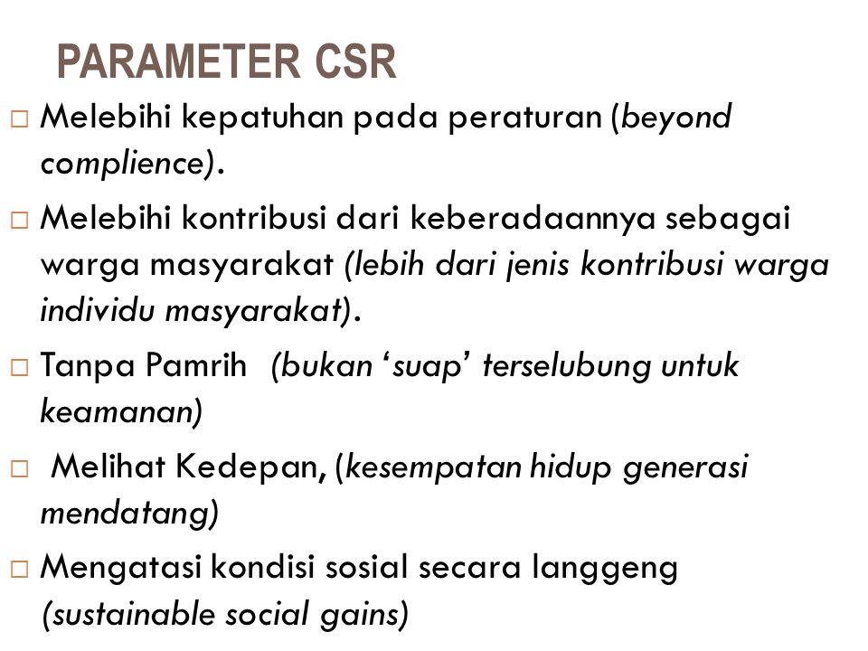 PARAMETER CSR Melebihi kepatuhan pada peraturan (beyond complience).