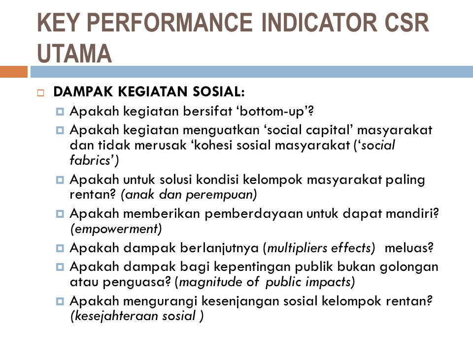 KEY PERFORMANCE INDICATOR CSR UTAMA