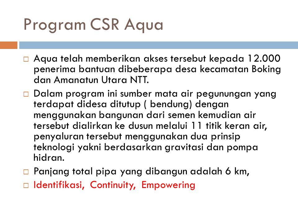 Program CSR Aqua Aqua telah memberikan akses tersebut kepada 12.000 penerima bantuan dibeberapa desa kecamatan Boking dan Amanatun Utara NTT.