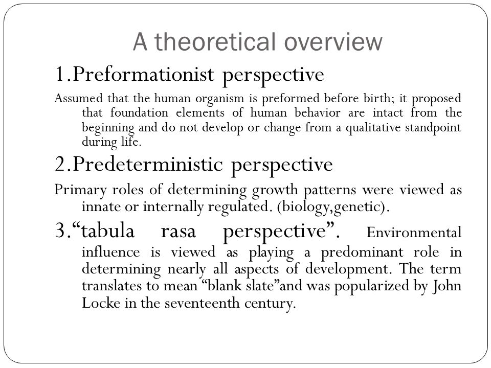 A theoretical overview