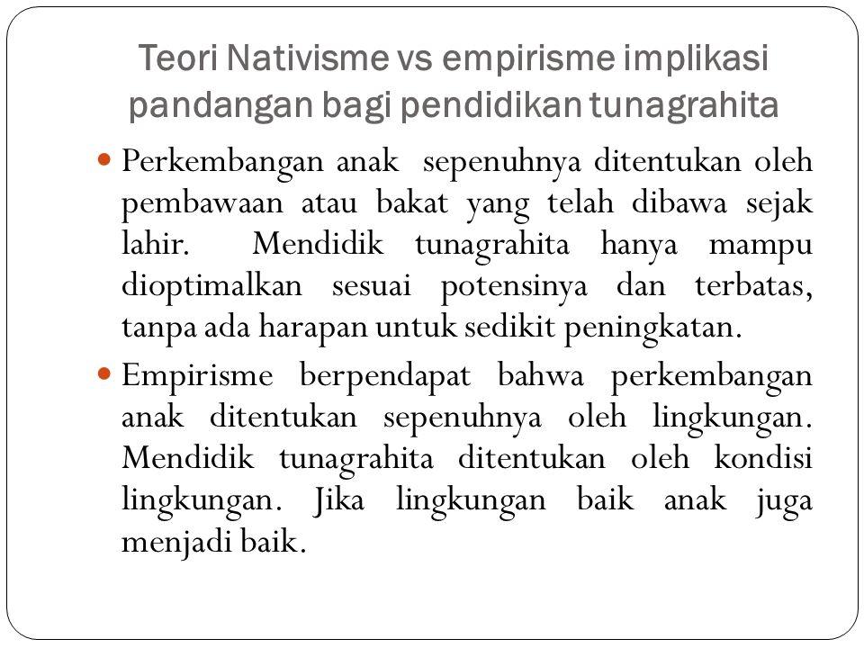 Teori Nativisme vs empirisme implikasi pandangan bagi pendidikan tunagrahita