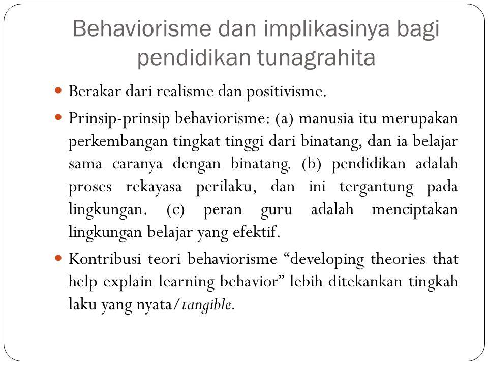 Behaviorisme dan implikasinya bagi pendidikan tunagrahita