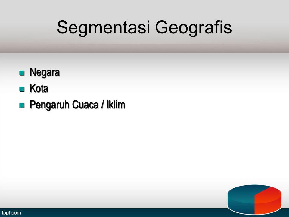 Segmentasi Geografis Negara Kota Pengaruh Cuaca / Iklim