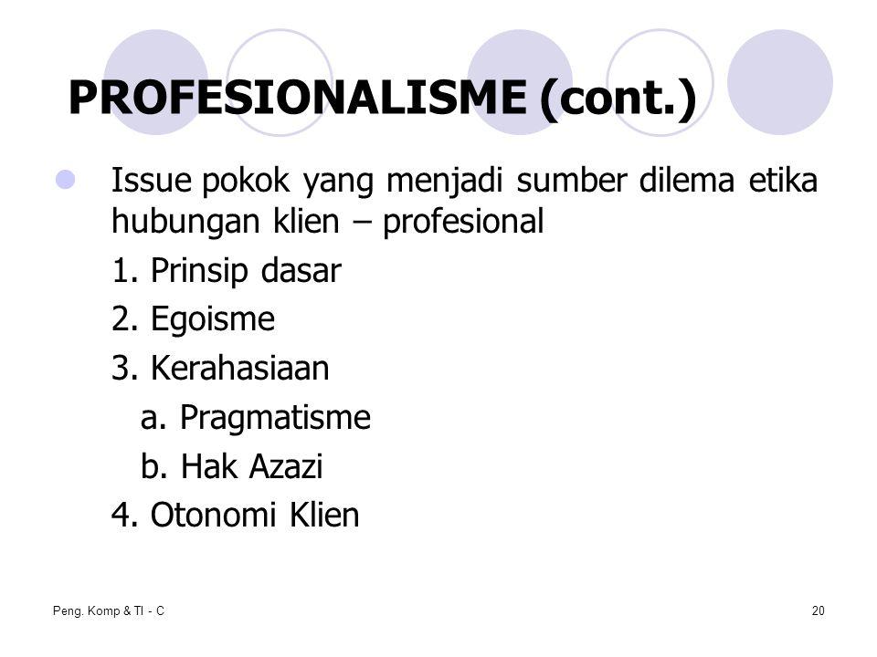 PROFESIONALISME (cont.)
