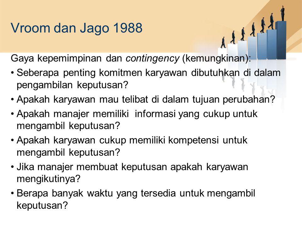 Vroom dan Jago 1988 Gaya kepemimpinan dan contingency (kemungkinan):