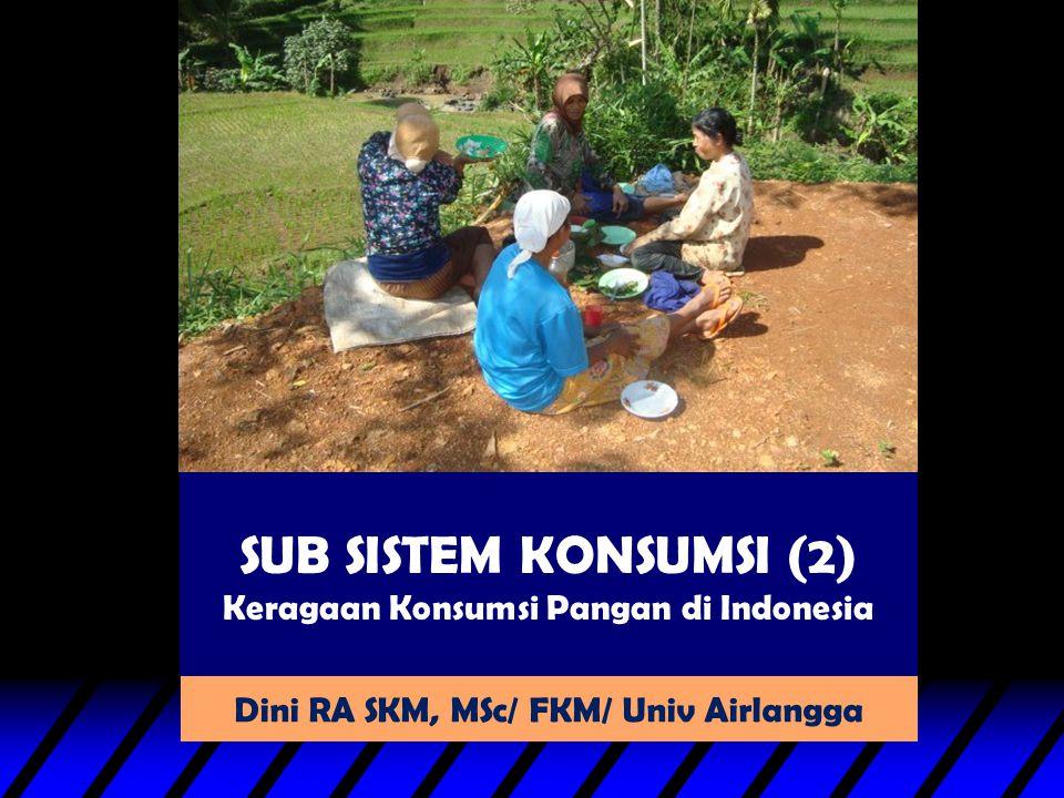 SUB SISTEM KONSUMSI (2) Keragaan Konsumsi Pangan di Indonesia