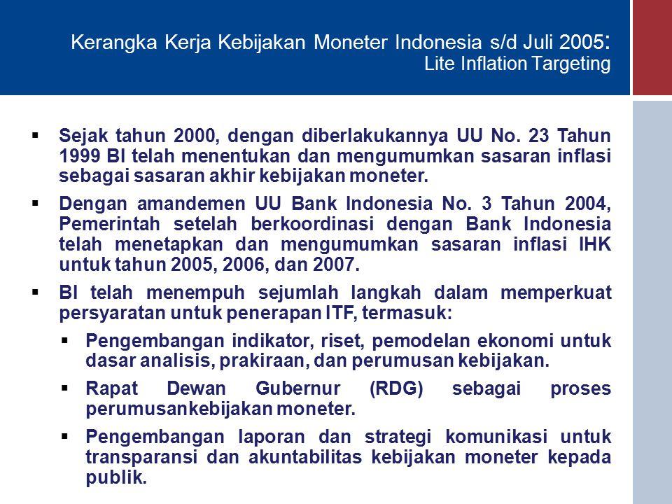 Kerangka Kerja Kebijakan Moneter Indonesia s/d Juli 2005: Lite Inflation Targeting