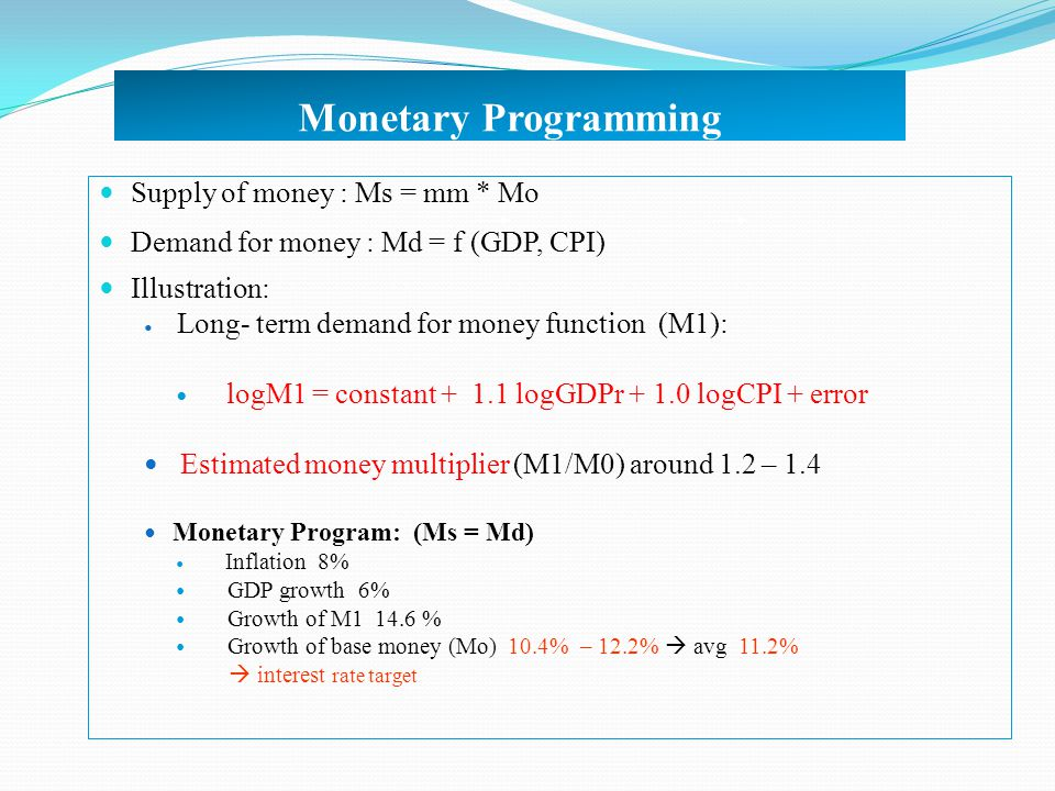 Monetary Programming Supply of money : Ms = mm * Mo