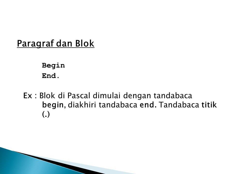 Paragraf dan Blok Begin End.