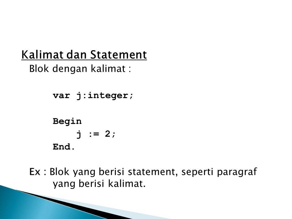 Kalimat dan Statement Blok dengan kalimat : var j:integer; Begin