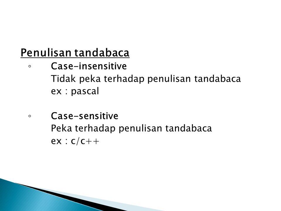 Penulisan tandabaca Case-insensitive