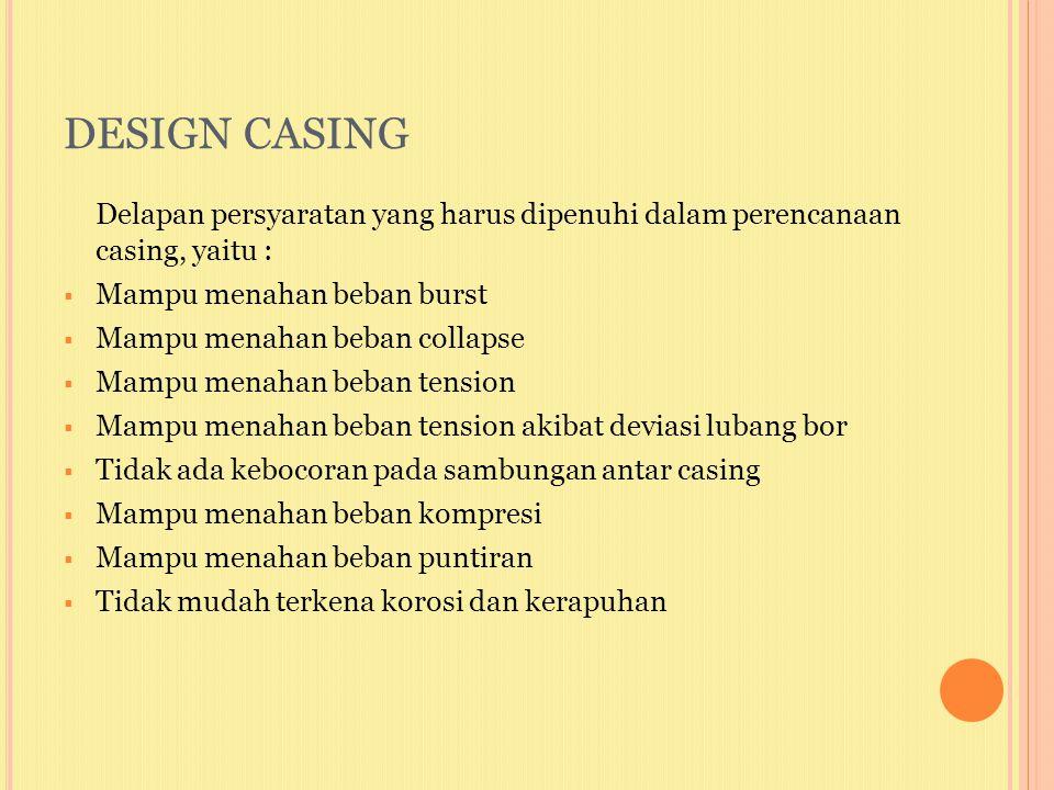 DESIGN CASING Delapan persyaratan yang harus dipenuhi dalam perencanaan casing, yaitu : Mampu menahan beban burst.