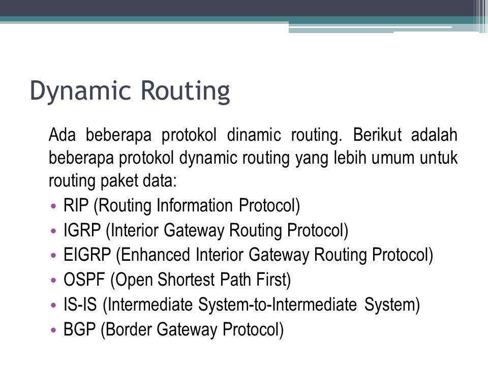 Dynamic Routing Ada beberapa protokol dinamic routing. Berikut adalah beberapa protokol dynamic routing yang lebih umum untuk routing paket data: