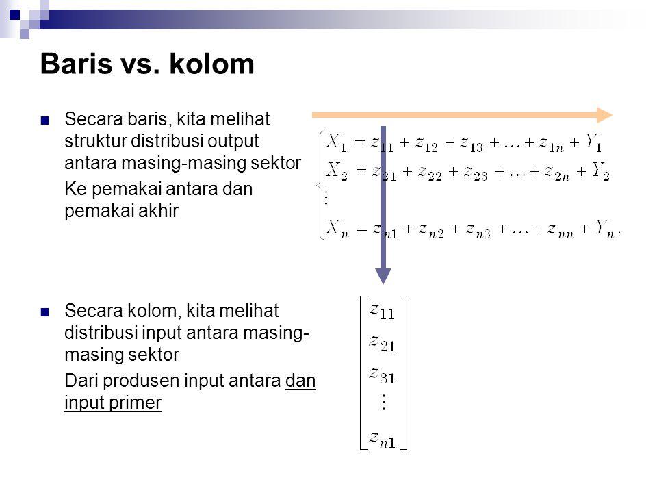 Baris vs. kolom Secara baris, kita melihat struktur distribusi output antara masing-masing sektor. Ke pemakai antara dan pemakai akhir.