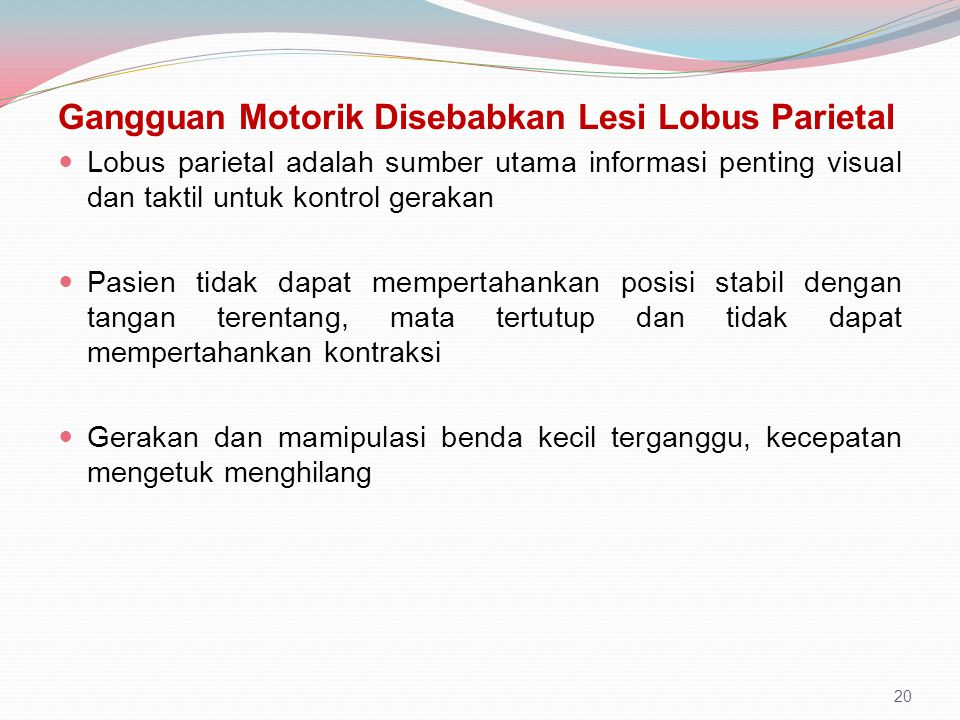 Gangguan Motorik Disebabkan Lesi Lobus Parietal