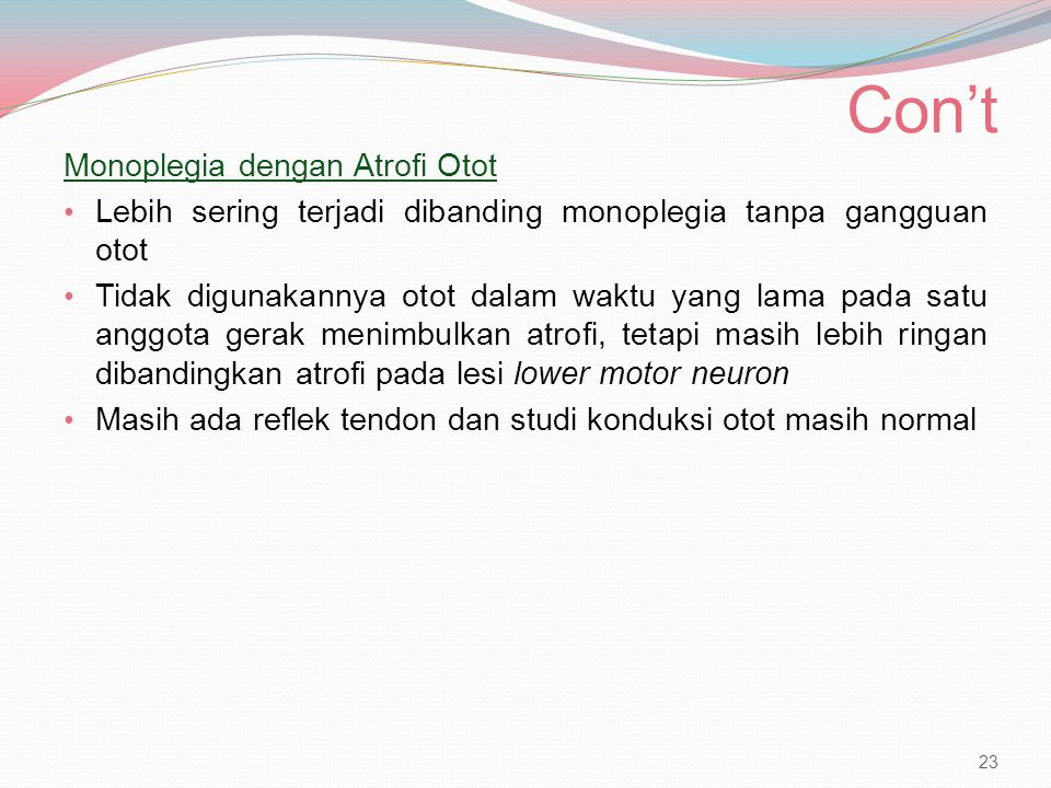 Con't Monoplegia dengan Atrofi Otot