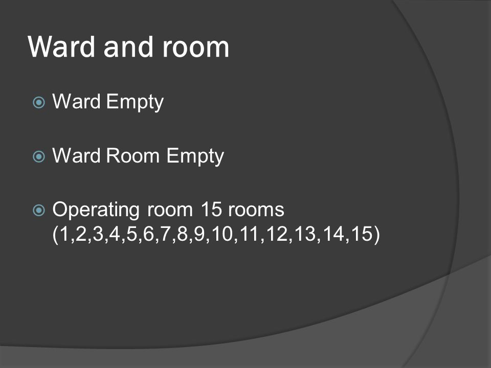 Ward and room Ward Empty Ward Room Empty