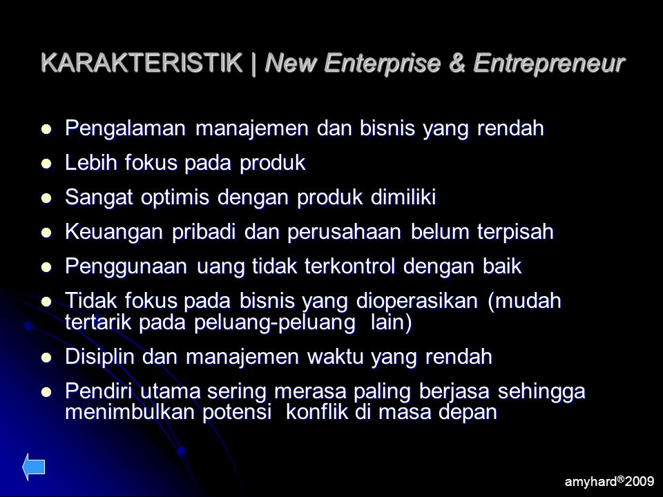 KARAKTERISTIK | New Enterprise & Entrepreneur