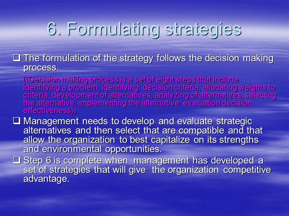 6. Formulating strategies