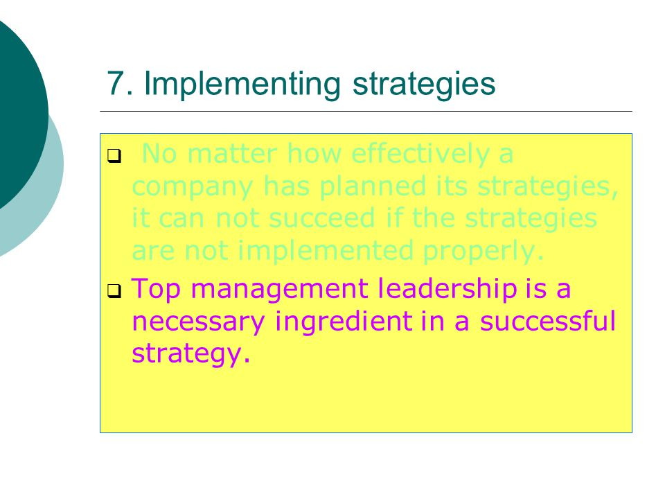 7. Implementing strategies