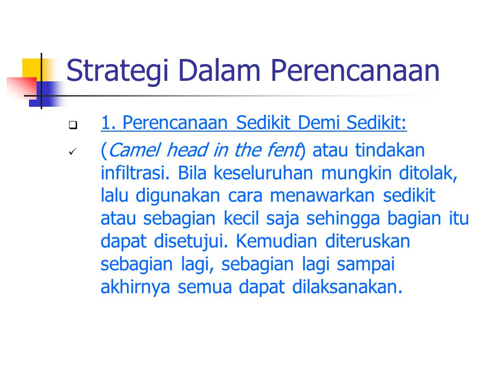 Strategi Dalam Perencanaan