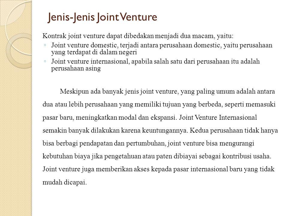 Jenis-Jenis Joint Venture