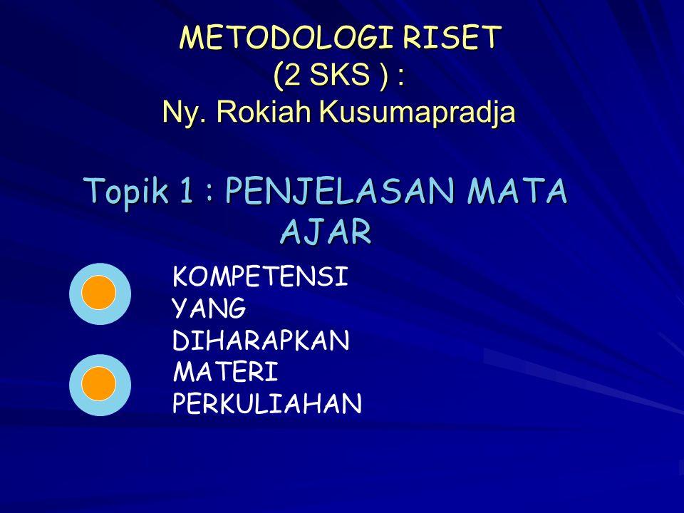 METODOLOGI RISET (2 SKS ) : Ny. Rokiah Kusumapradja