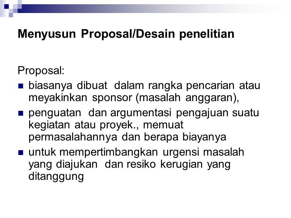 Menyusun Proposal/Desain penelitian